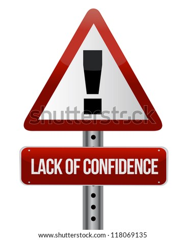 lack of confidence illustration design over white background