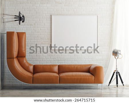Lack of space, bed and mock up poster, 3d illustration - stock photo