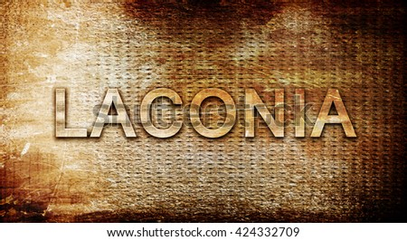 laconia, 3D rendering, text on a metal background
