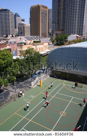 Lacrosse game in Sydney city centre New South Wales Australia - stock photo