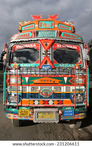 LADAKH, INDIA - CIRCA AUGUST 2011: Front view of Indian truck in the Himalaya mountains