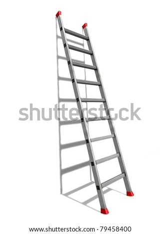 Ladder A ladder with red anti-slip shoes leaned against a white wall