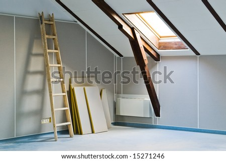 ladder and construction materials indoor