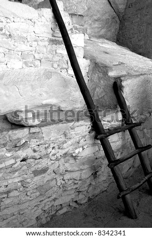 Ladder at Mesa Vede National Park - stock photo