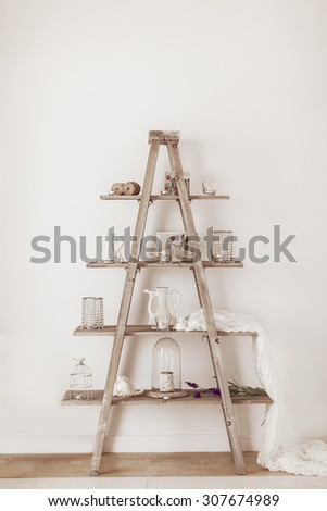 Ladder decor indoor - stock photo