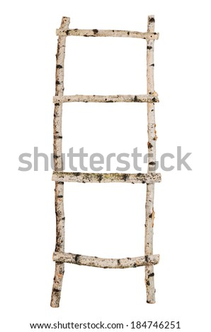 Ladder from birch trunks isolated on white - stock photo