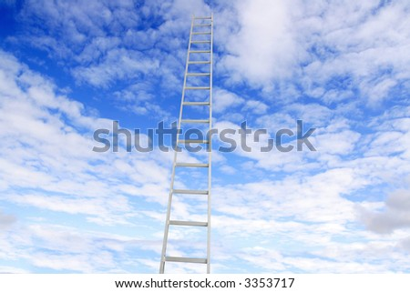 Ladder going up in to the sky - stock photo