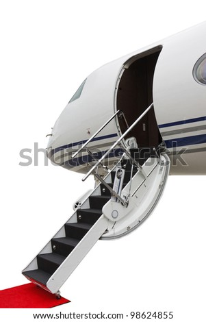 ladder in a private jet isolated on a white background - stock photo
