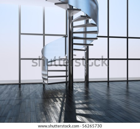 Ladder in an interior - stock photo
