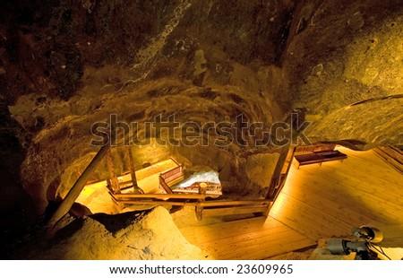 Ladder in salt mine in Wieliczka. Poland - stock photo