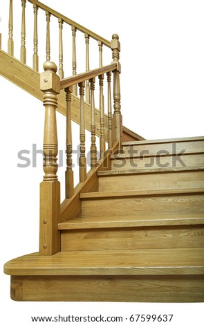 Ladder indoors on the top floor. It is isolated, a close up. - stock photo