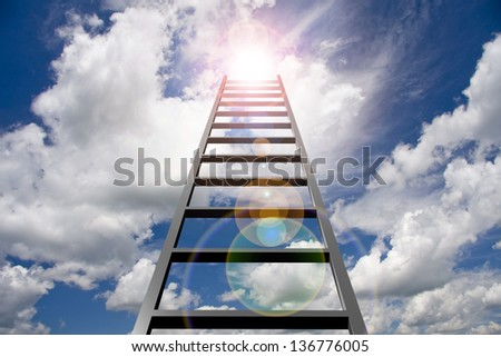 Ladder into sky - stock photo
