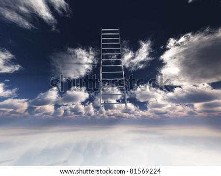 Ladder into sky - stock photo