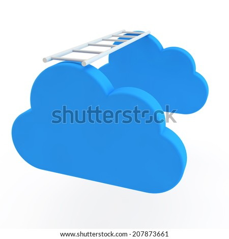 ladder is thrown between cloud icons - stock photo