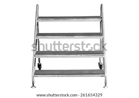 Ladder isolated on white work with path. - stock photo