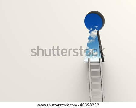 Ladder leading to a keyhole to the sky - 3d render - stock photo
