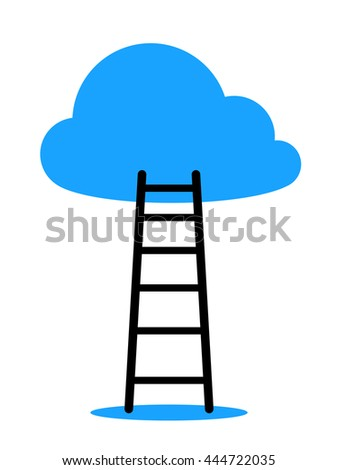 Ladder leading to cloud against white background - stock photo