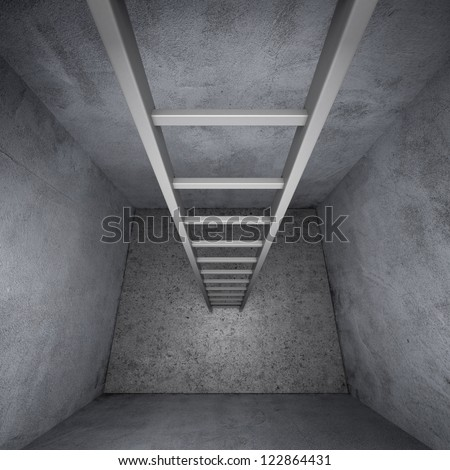 Ladder leading up out of the closet isolated on a white background - stock photo