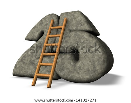 ladder leans on stone number twenty five - 3d illustration - stock photo