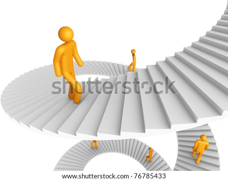 Ladder of Success (isolated) - stock photo
