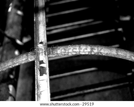 ladder on a water tower - stock photo