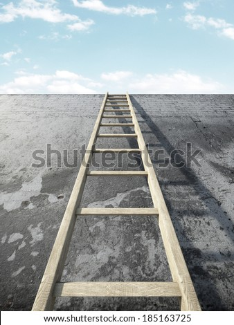 Ladder on grunge wall in front of sky - stock photo