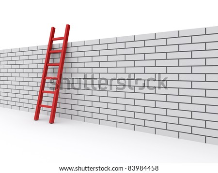 ladder on the wall. 3d rendered illustration - stock photo