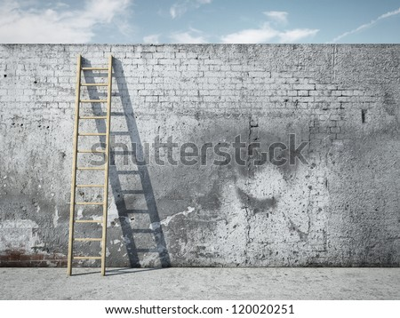 Ladder on wall in front of sky - stock photo