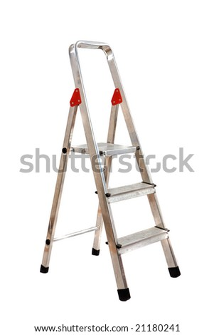 Ladder opened on a over white background - stock photo