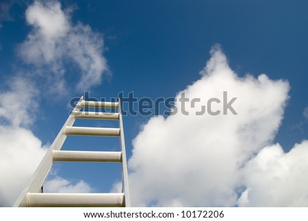 Ladder reaching into the sky - business concepts etc - stock photo