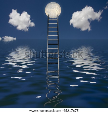 Ladder Rises out of Body of Water - stock photo