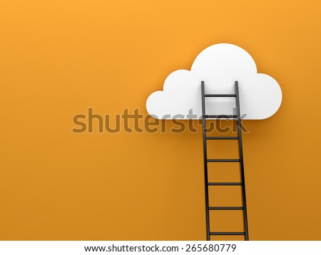 Ladder to cloud motivation concept image - stock photo