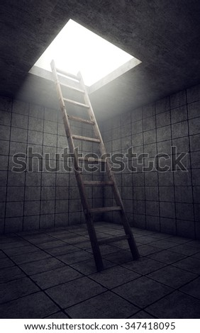 Ladder to freedom from dirty room. 3d rendering - stock photo