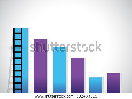ladder to of a business graph illustration design graphic - stock photo