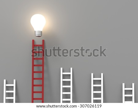 ladder to success concept with idea light bulb - stock photo