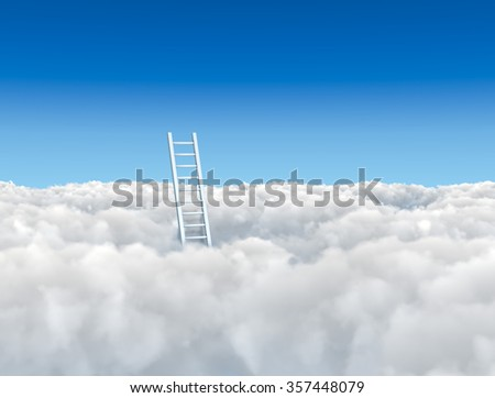 Ladder to the clouds concept image. - stock photo