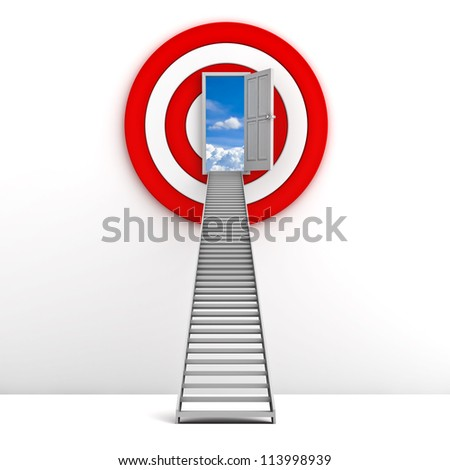 Ladder to the sky door with red target behind over white background , Life goal concept - stock photo