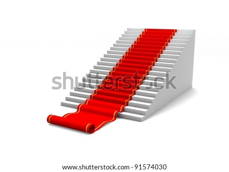 Ladder with red carpet. Concept of career or growth. 3d illustration - stock photo