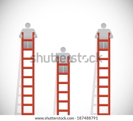 ladders and people going up. illustration design over a white background