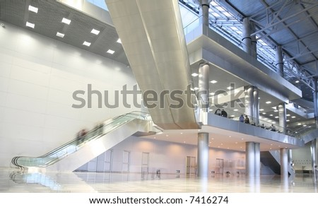 ladders in the business center - stock photo