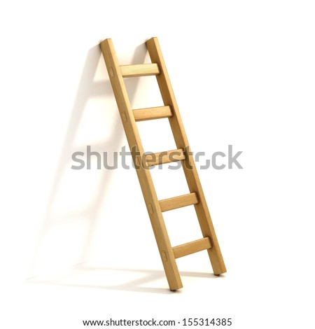 ladders isolated on white - stock photo