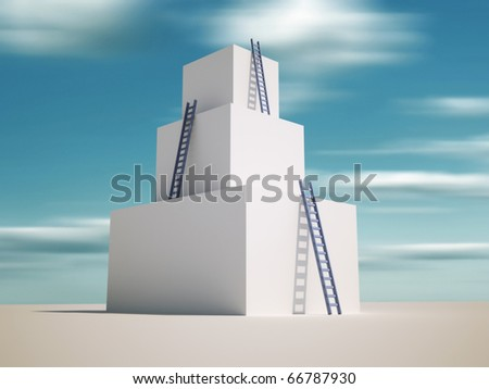 Ladders leaning against a tower - 3d render illustration - stock photo