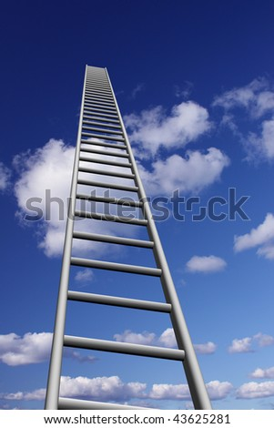 Ladders to skyhigh success - stock photo