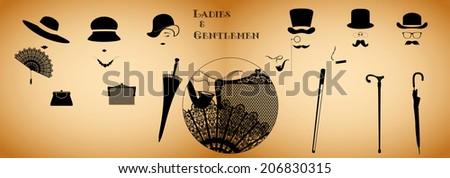 Ladies and gentlemen figures with accessories - stock photo