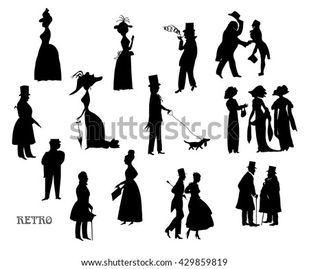 Ladies and gentlemen on walk. Symbolic vintage style, black and white silhouette. Raster version of illustration. Big set