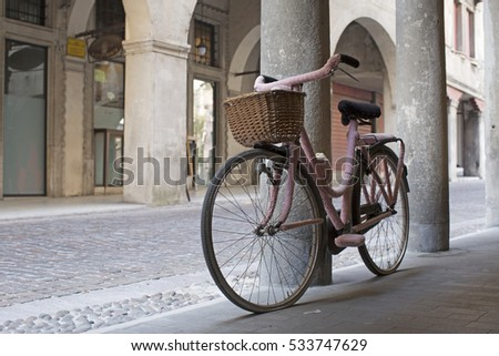 Ladies' bike with pink woolen clothing
