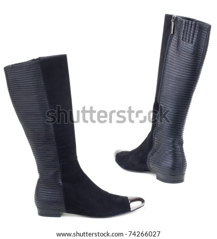 Ladies, black  boots  on a white background. - stock photo