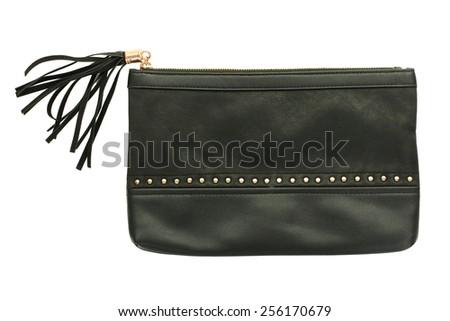 ladies black clutch bag - stock photo
