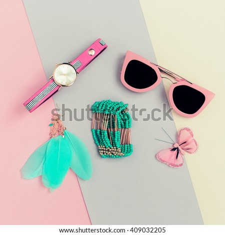 Ladies Fashion Accessories. Pink Clutch, Sunglasses, Watches, Jewelry. Be vanilla Lady - stock photo