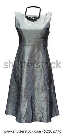ladies grey sleeveless dress of wrinkled satin, clipping path